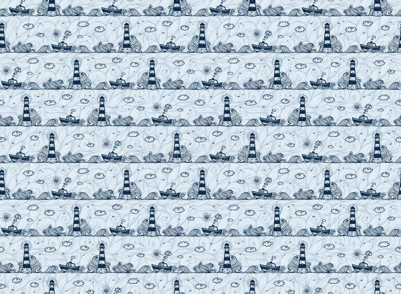 Latarnia morska, statek, macha i chmurnieje w dzieciakach doodle styl, zmrok - błękitny wektoru wzór ilustracja wektor