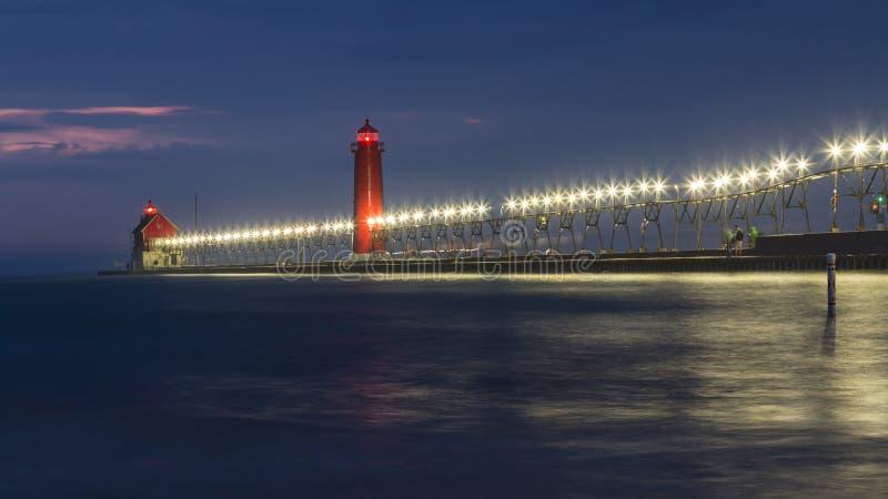 Latarnia morska Uroczysty niebo, Michigan zdjęcia stock