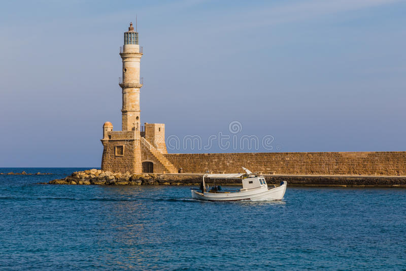 Latarnia morska w Chania schronieniu, Crete fotografia royalty free