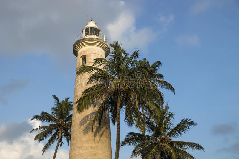 Latarnia morska w Galle z drzewkami palmowymi, Sri Lanka obrazy royalty free