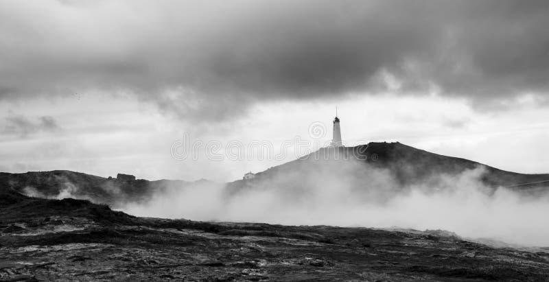 Latarnia morska w Geotermicznym polu Gunnuhve, Iceland zdjęcie royalty free