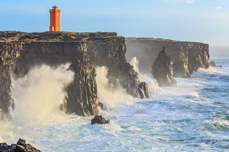 Latarnia morska w Zachodnim Iceland obraz royalty free