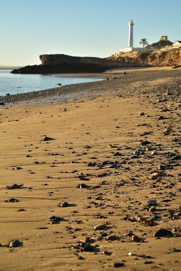 Latarnia morska wczesnego poranku plaży brzeg kołysa San Felipe, Baj, Meksyk zdjęcia stock