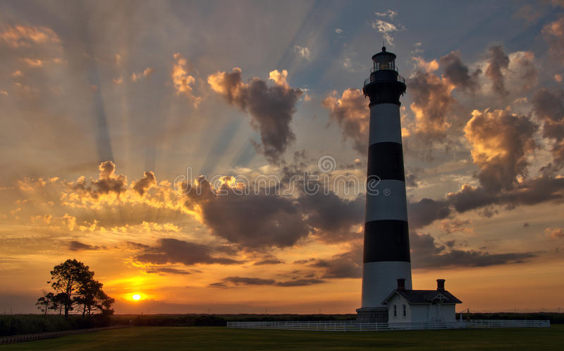 Latarnia morska wschód słońca zdjęcie royalty free