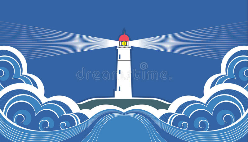 Latarnia morska z błękitny morzem.
