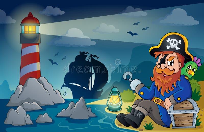 Latarnia morska z pirata tematem 5 royalty ilustracja