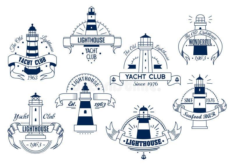 Latarnia morska Znaczek z nautycznym tematem Nautyczna odznaka ilustracja wektor