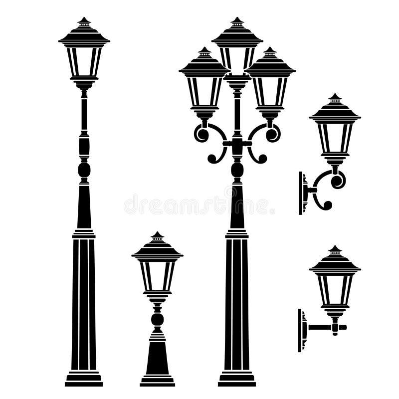 Latarnie uliczne kolekcje, lampionu set ilustracja wektor