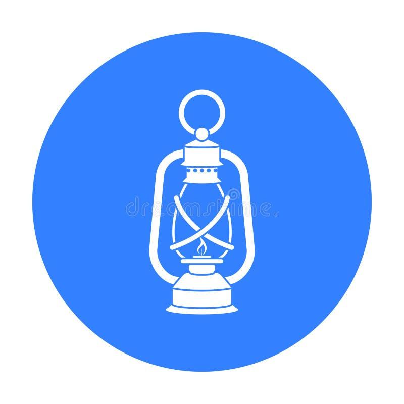 Latarniowa ikona w czerń stylu odizolowywającym na białym tle Kopalniana symbolu zapasu wektoru ilustracja royalty ilustracja