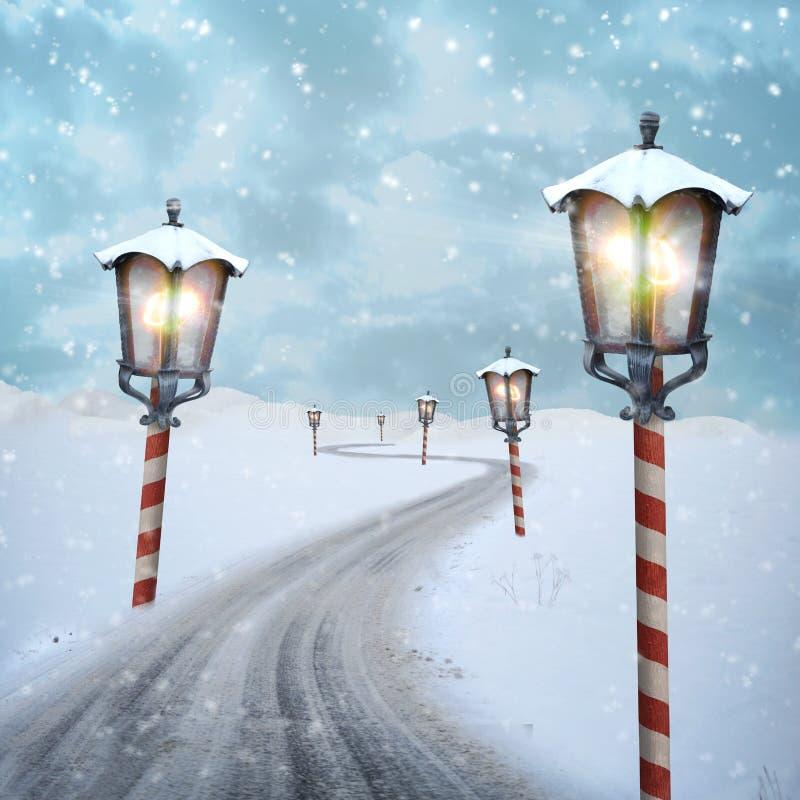 Latarniowi biegunów północnych boże narodzenia drogowi na śniegu obraz royalty free