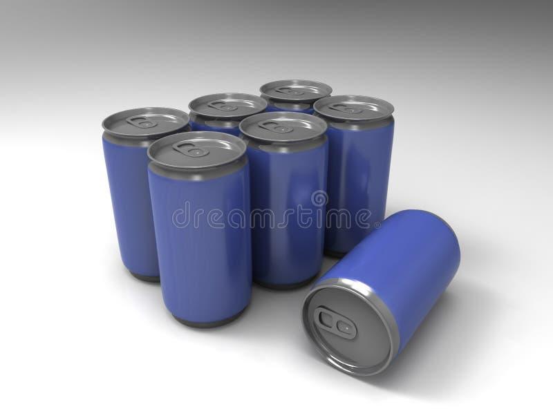 Latas azuis no fundo foto de stock