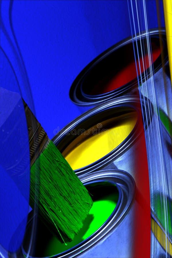 Latas coloridas abstractas de la pintura, de los colores primarios y del cepillo de pintura, Y foto de archivo