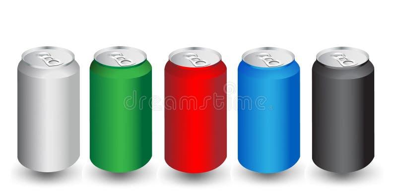 Latas coloridas da bebida do aliminum ilustração royalty free