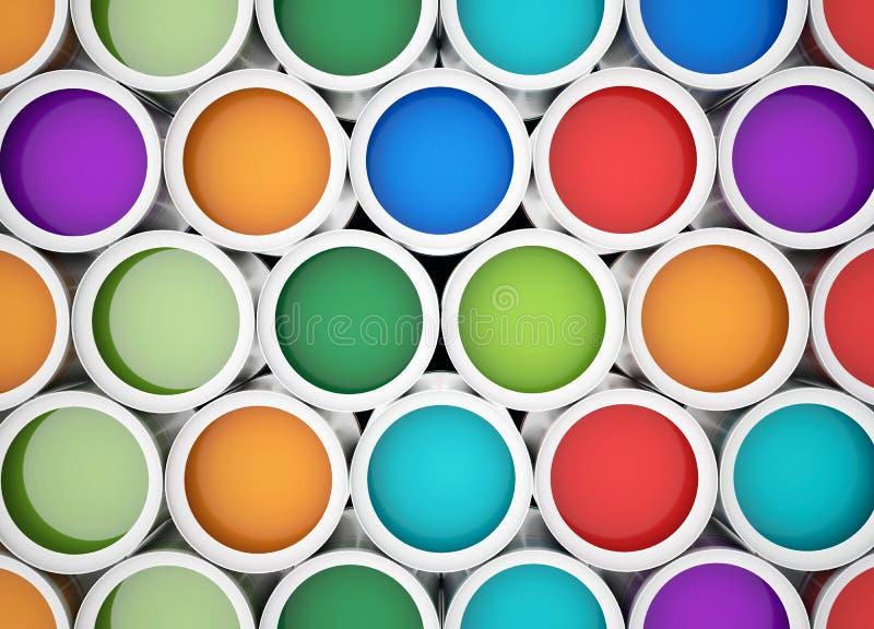 Latas coloridas da pintura para o fundo ilustração stock
