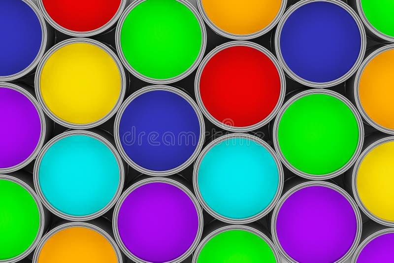 Latas coloridas de la pintura del primer extremo foto de archivo libre de regalías