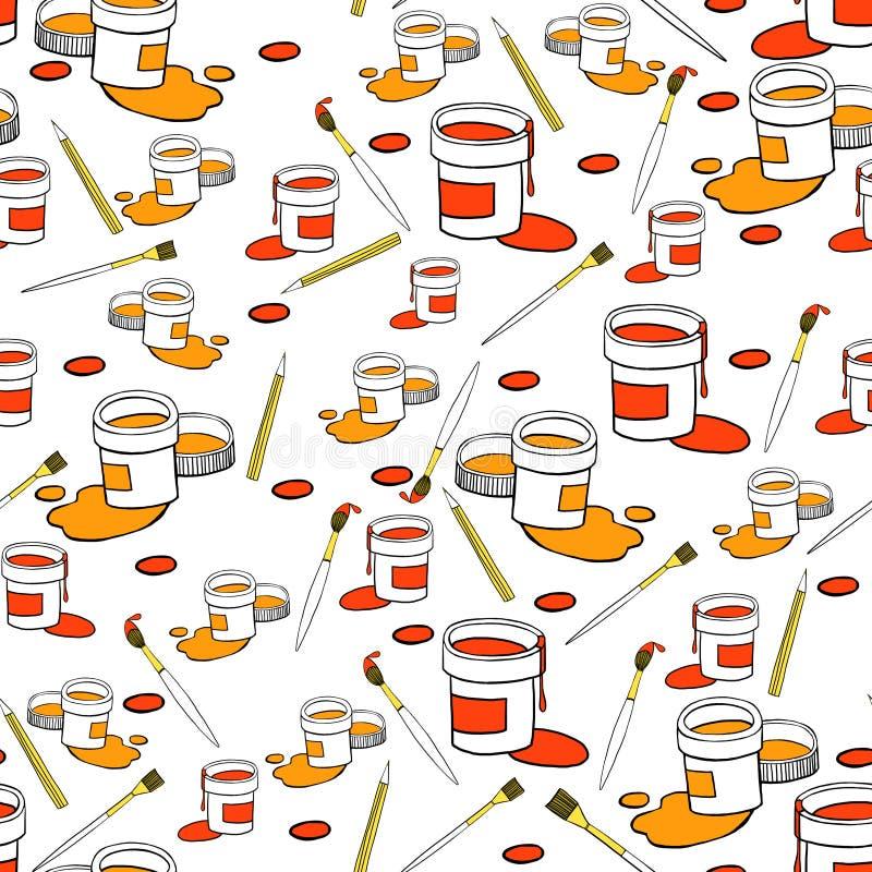 Latas con la pintura del color en el fondo blanco ilustración del vector