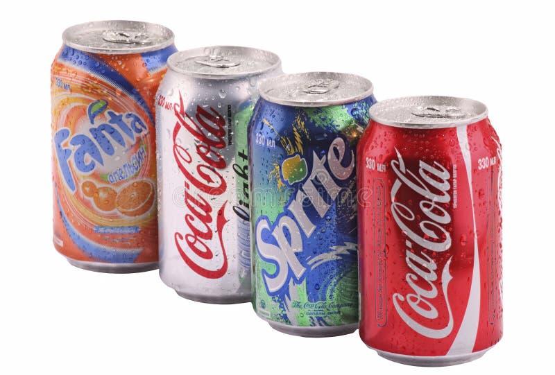 latas con las bebidas fotografía de archivo libre de regalías