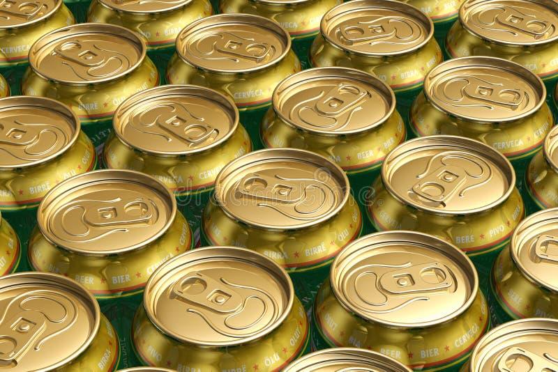 Latas da bebida do metal com cerveja ilustração stock