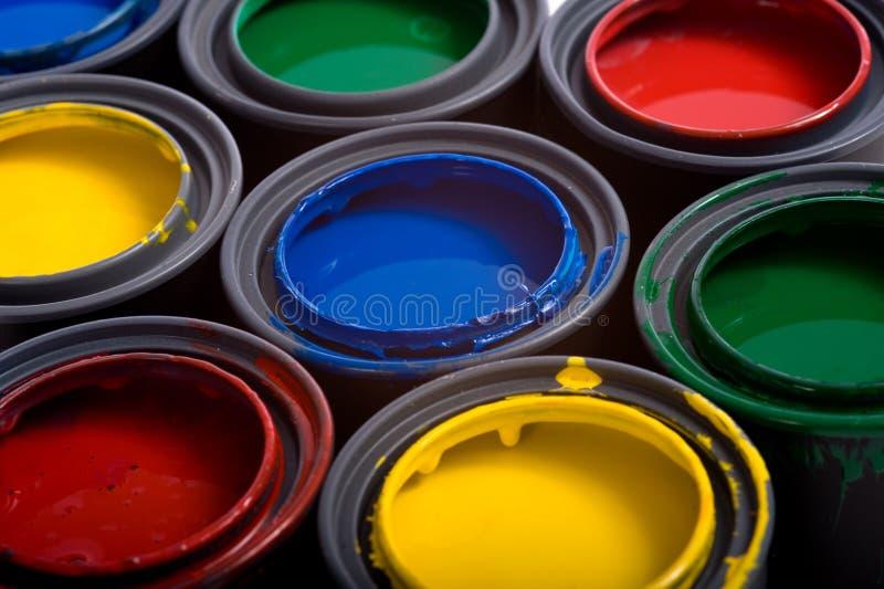 Latas da pintura imagem de stock