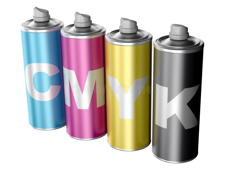 Latas de aerosol con color de CMYK libre illustration