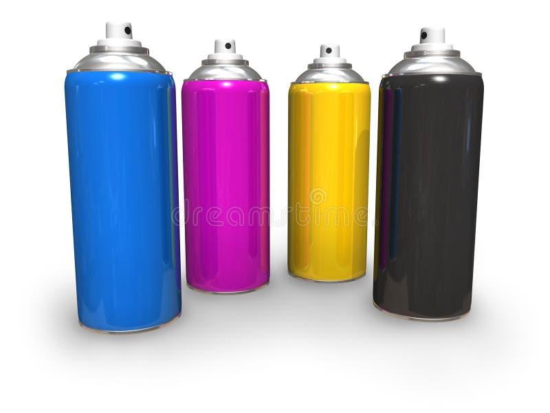 Latas de aerosol de CMYK stock de ilustración