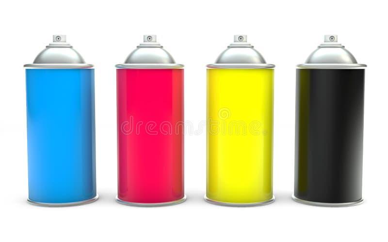 Latas de aerosol de la pintura de CMYK ilustración del vector