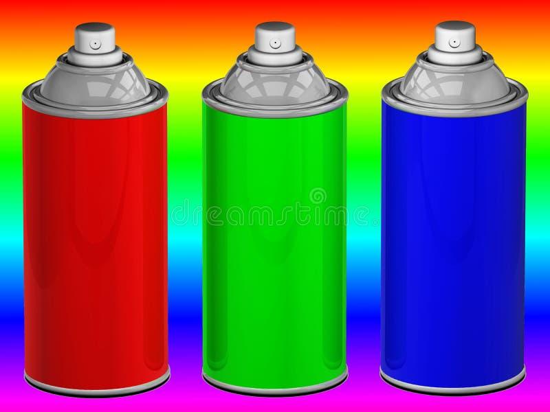 Latas de aerosol del color ilustración del vector