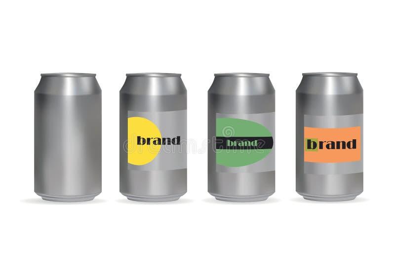 latas de alumínio para bebidas ilustração royalty free