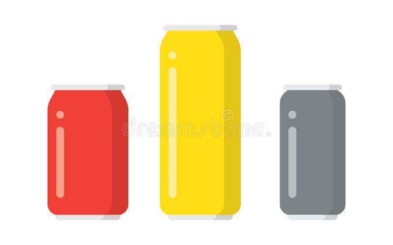 Latas de aluminio coloridas de la bebida sobre el fondo blanco libre illustration