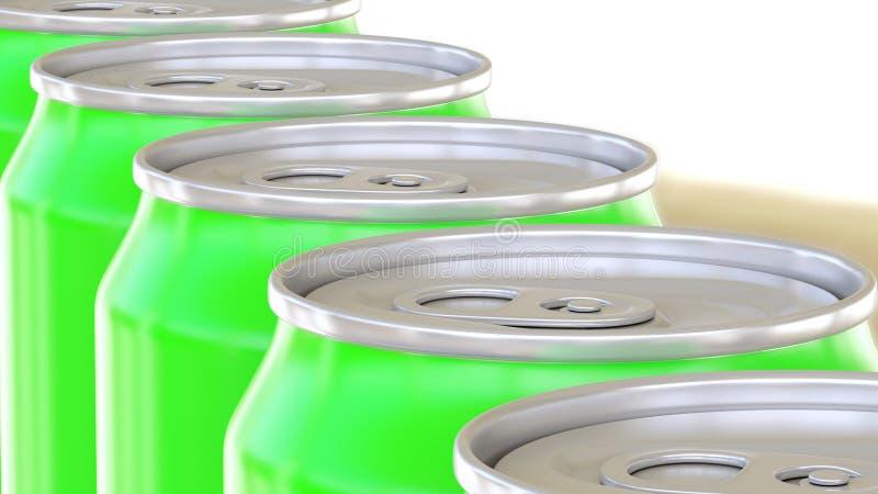 Latas de aluminio verdes que mueven encendido el transportador Refrescos o cadena de producción de la cerveza Reciclaje del empaq fotos de archivo libres de regalías