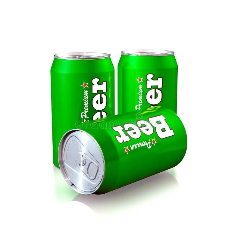 Latas de cerveza stock de ilustración