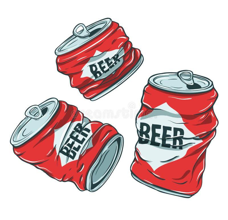 Latas de cerveza en blanco stock de ilustración