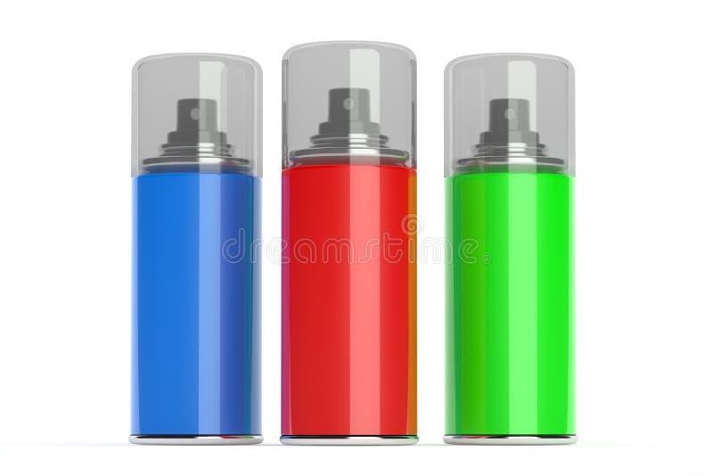 Latas de espray de aerosol con las pinturas del color. ilustración del vector