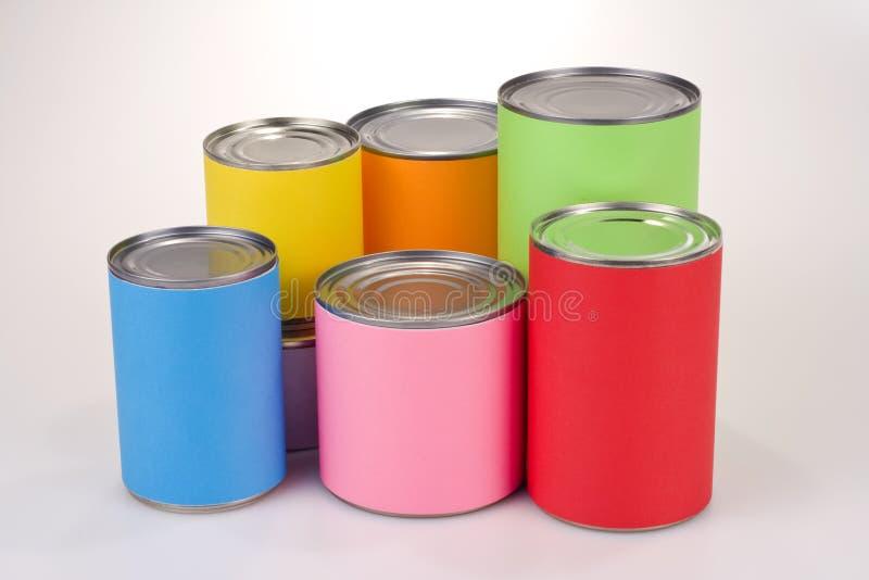 Latas de estanho coloridas foto de stock