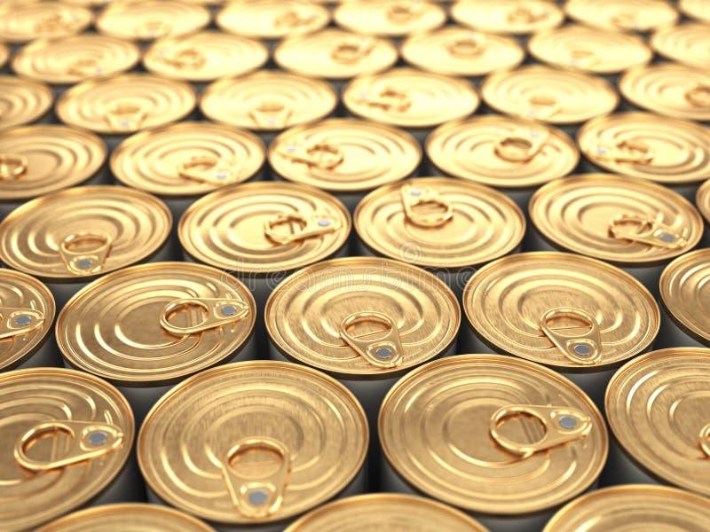 Latas de la comida. Fondo de los ultramarinos. stock de ilustración