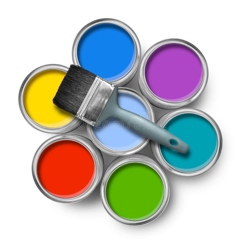 Latas de la pintura del color con el cepillo fotos de archivo libres de regalías