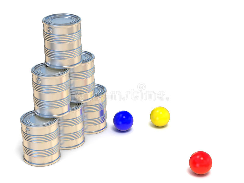 Latas de lata e três bolas Vista lateral 3d ilustração royalty free