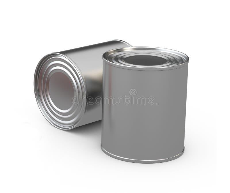 Latas de lata fechados do alimento, branco do isoladet da ilustração 3d ilustração stock