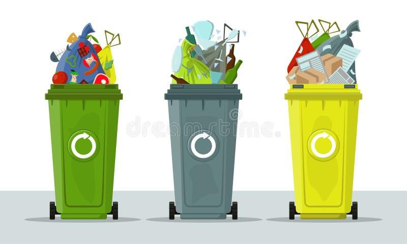 Latas de lixo isoladas no fundo branco A ecologia e recicla o conceito Classificando o lixo Tanque com os sacos dos restos e de l ilustração stock