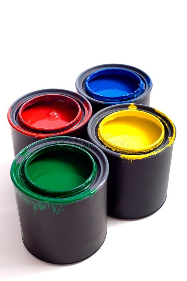 Latas de pintura imágenes de archivo libres de regalías