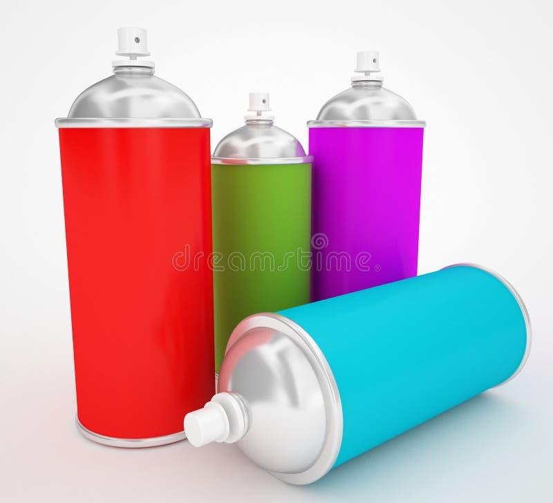 Latas de pulverizador coloridas ilustração stock