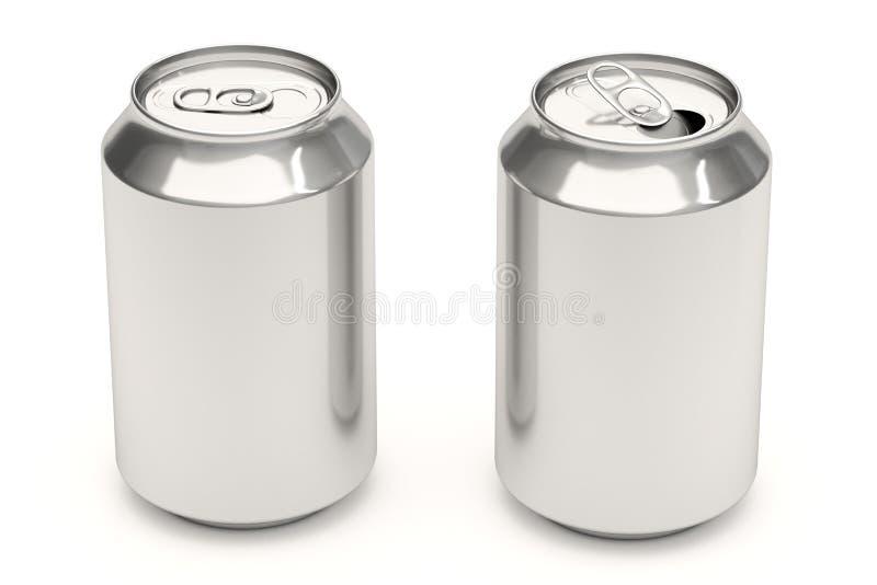 Latas de soda en blanco ilustración del vector