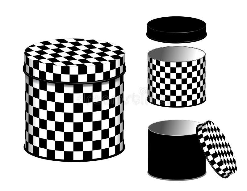 Latas del diseño de los botes, del tablero de damas y tapas stock de ilustración