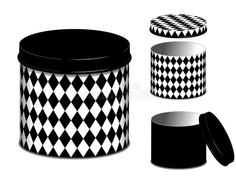 Latas del diseño del diamante del bote, del arlequín y tapas stock de ilustración