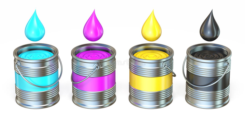 Latas do metal de CMYK com gotas 3D da cor ilustração stock