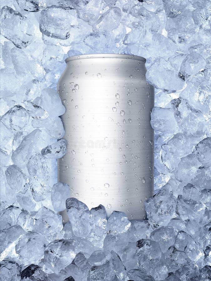 Latas en de fondo del blanco del hielo fotos de archivo