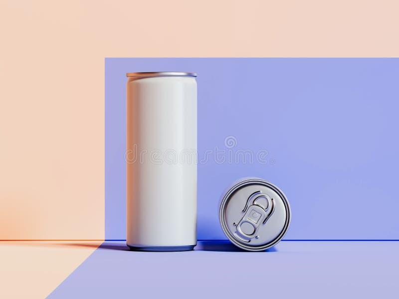 Latas metálicas blancas en blanco en el fondo multicolor, representación 3d stock de ilustración
