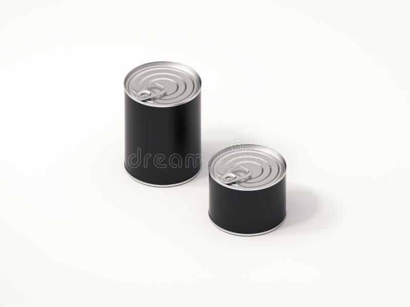 Latas pretas no fundo branco, rendição 3d ilustração stock