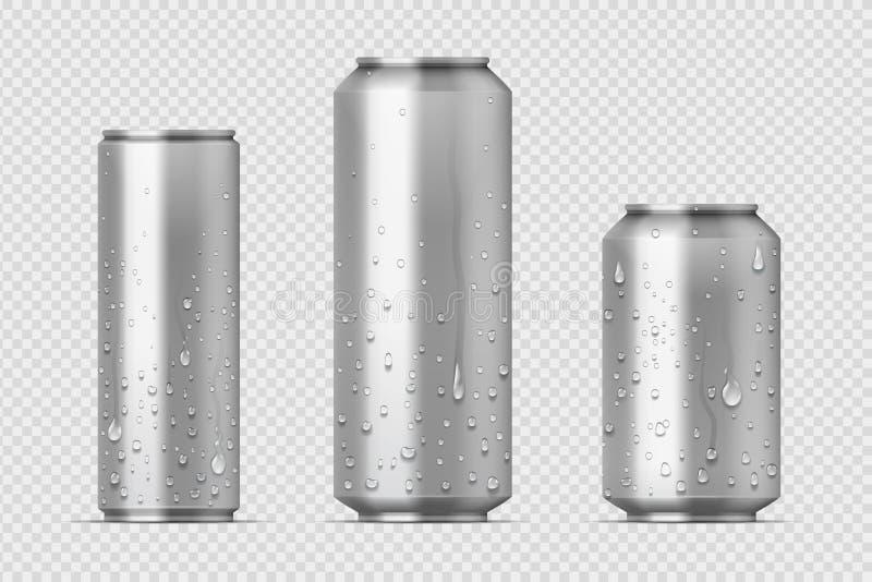 Latas realísticas do metal Latas de alumínio com gotas da água, modelo da soda e da limonada do urso da bebida da energia O vetor ilustração royalty free