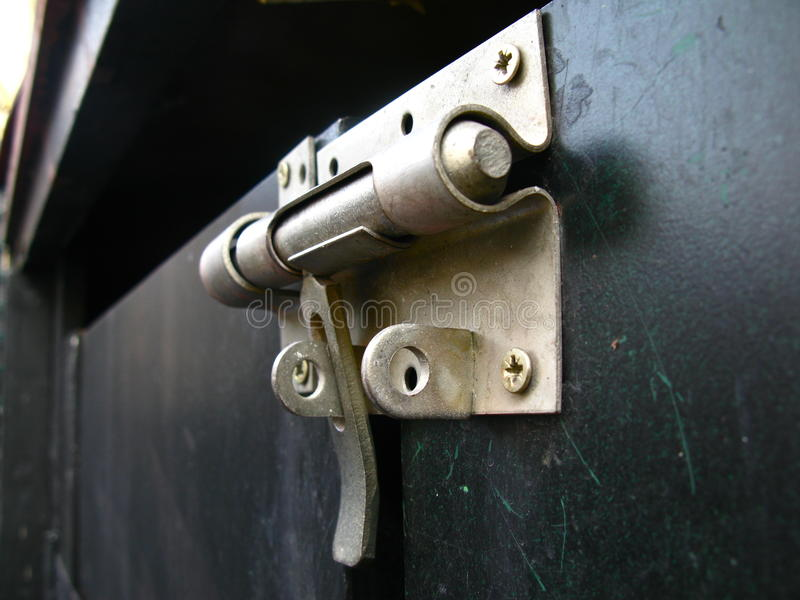 Latch of a garden shed stock image